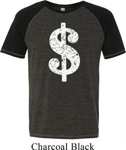 Mens Funny Shirt Distressed Dollar Sign Tri Blend Tee T-Shirt