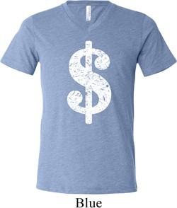Mens Funny Shirt Distressed Dollar Sign Tri Blend V-neck Tee T-Shirt