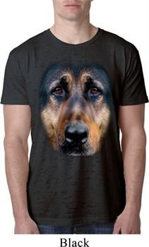 Mens German Shepherd Shirt Big German Shepherd Face Burnout T-Shirt