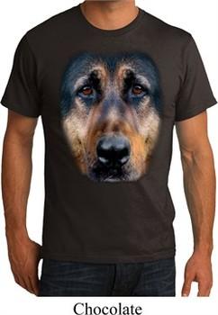 Mens German Shepherd Shirt Big German Shepherd Face Organic T-Shirt