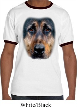 Mens German Shepherd Shirt Big German Shepherd Face Ringer Tee T-Shirt