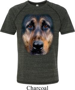 Mens German Shepherd Shirt Big German Shepherd Face Tri Blend T-Shirt