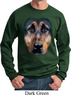 Mens German Shepherd Sweatshirt Big German Shepherd Face Sweat Shirt