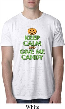 Mens Halloween Shirt Keep Calm and Give Me Candy Burnout Tee T-Shirt