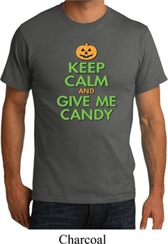 Mens Halloween Shirt Keep Calm and Give Me Candy Organic Tee T-Shirt