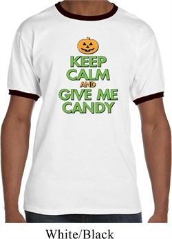Mens Halloween Shirt Keep Calm and Give Me Candy Ringer Tee T-Shirt