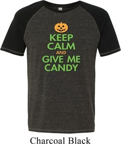 Mens Halloween Shirt Keep Calm and Give Me Candy Tri Blend Tee T-Shirt