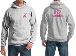Mens Hoodie Pink Ribbon I Heart a Survivor Front & Back Print Hoody