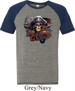 Mens Pirate Shirt Tell No Tales Pirate Tri Blend Tee T-Shirt