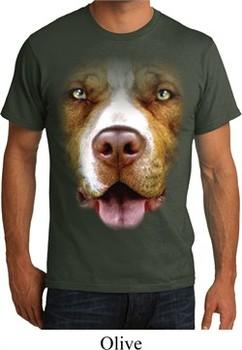 Mens Pit Bull Shirt Big Pit Bull Face Organic T-Shirt
