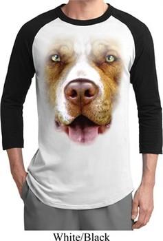 Mens Pit Bull Shirt Big Pit Bull Face Raglan Tee T-Shirt