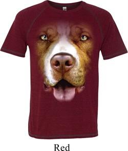 Mens Pit Bull Shirt Big Pit Bull Face Tri Blend T-Shirt