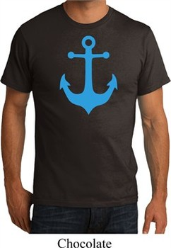 Mens Sailing Shirt Blue Anchor Organic Tee T-Shirt