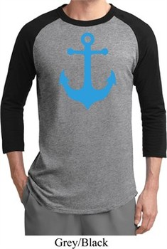 Mens Sailing Shirt Blue Anchor Raglan Tee T-Shirt