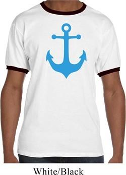 Mens Sailing Shirt Blue Anchor Ringer Tee T-Shirt