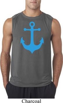 Mens Sailing Shirt Blue Anchor Sleeveless Tee T-Shirt