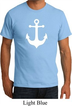 Mens Sailing Shirt White Anchor Organic Tee T-Shirt