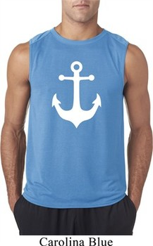Mens Sailing Shirt White Anchor Sleeveless Tee T-Shirt
