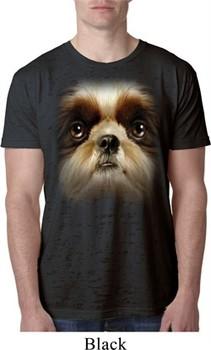 Mens Shih Tzu Shirt Big Shih Tzu Face Burnout T-Shirt