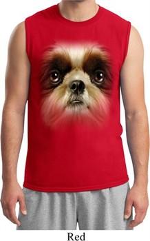 Mens Shih Tzu Shirt Big Shih Tzu Face Muscle Tee T-Shirt
