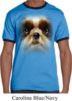 Mens Shih Tzu Shirt Big Shih Tzu Face Ringer Tee T-Shirt