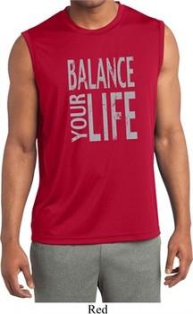 Mens Shirt Balance Your Life Sleeveless Moisture Wicking Tee T-Shirt