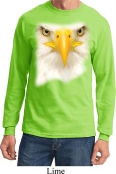 Mens Shirt Big Bald Eagle Face Long Sleeve Tee T-Shirt