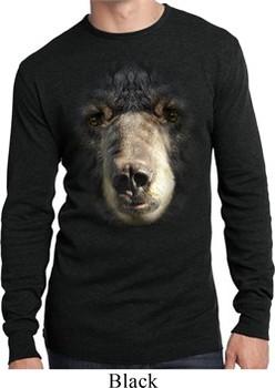 Mens Shirt Big Black Bear Face Long Sleeve Thermal Tee T-Shirt