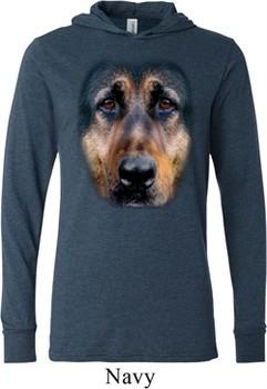 Mens Shirt Big German Shepherd Face Lightweight Hoodie Tee