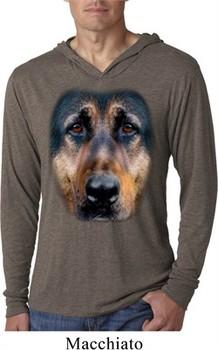 Mens Shirt Big German Shepherd Face Lightweight Hoodie Tee T-Shirt