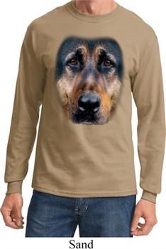 Mens Shirt Big German Shepherd Face Long Sleeve Tee T-Shirt