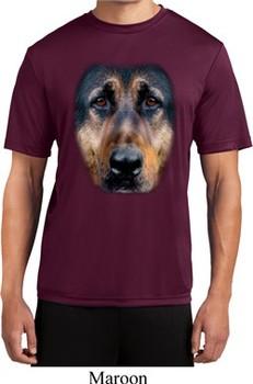 Mens Shirt Big German Shepherd Face Moisture Wicking Tee T-Shirt
