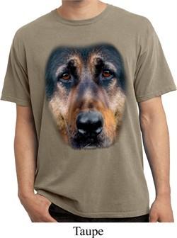 Mens Shirt Big German Shepherd Face Pigment Dyed Tee T-Shirt