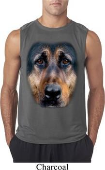 Mens Shirt Big German Shepherd Face Sleeveless Tee T-Shirt