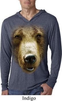 Mens Shirt Big Grizzly Bear Face Lightweight Hoodie Tee T-Shirt