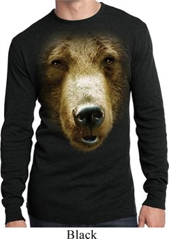 Mens Shirt Big Grizzly Bear Face Long Sleeve Thermal Tee T-Shirt