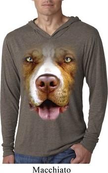 Mens Shirt Big Pit Bull Face Lightweight Hoodie Tee T-Shirt
