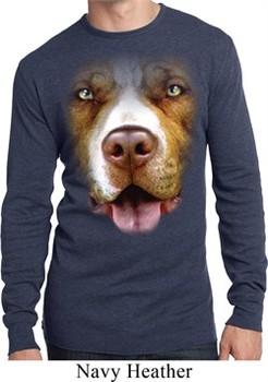 Mens Shirt Big Pit Bull Face Long Sleeve Thermal Tee T-Shirt