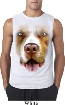 Mens Shirt Big Pit Bull Face Sleeveless Tee T-Shirt