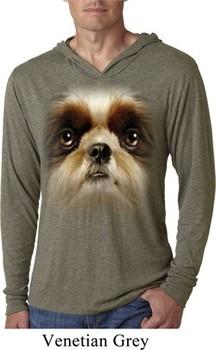 Mens Shirt Big Shih Tzu Face Lightweight Hoodie Tee T-Shirt