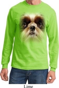 Mens Shirt Big Shih Tzu Face Long Sleeve Tee T-Shirt