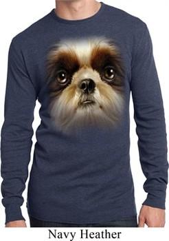 Mens Shirt Big Shih Tzu Face Long Sleeve Thermal Tee T-Shirt