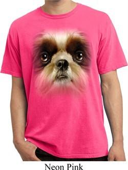 Mens Shirt Big Shih Tzu Face Pigment Dyed Tee T-Shirt