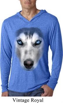 Mens Shirt Big Siberian Husky Face Lightweight Hoodie Tee T-Shirt