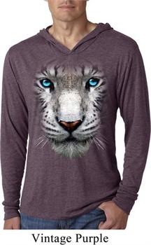Mens Shirt Big White Tiger Face Lightweight Hoodie Tee T-Shirt