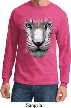 Mens Shirt Big White Tiger Face Long Sleeve Tee T-Shirt