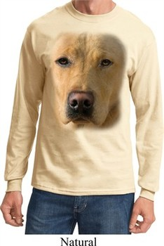 Mens Shirt Big Yellow Lab Face Long Sleeve Tee T-Shirt
