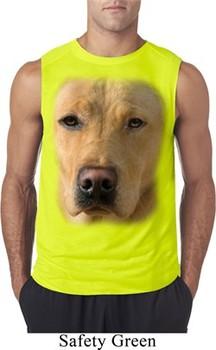 Mens Shirt Big Yellow Lab Face Sleeveless Tee T-Shirt