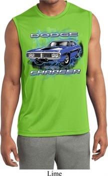 Mens Shirt Blue Dodge Charger Sleeveless Moisture Wicking Tee T-Shirt