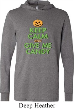 Mens Shirt Keep Calm and Give Me Candy Lightweight Hoodie Tee